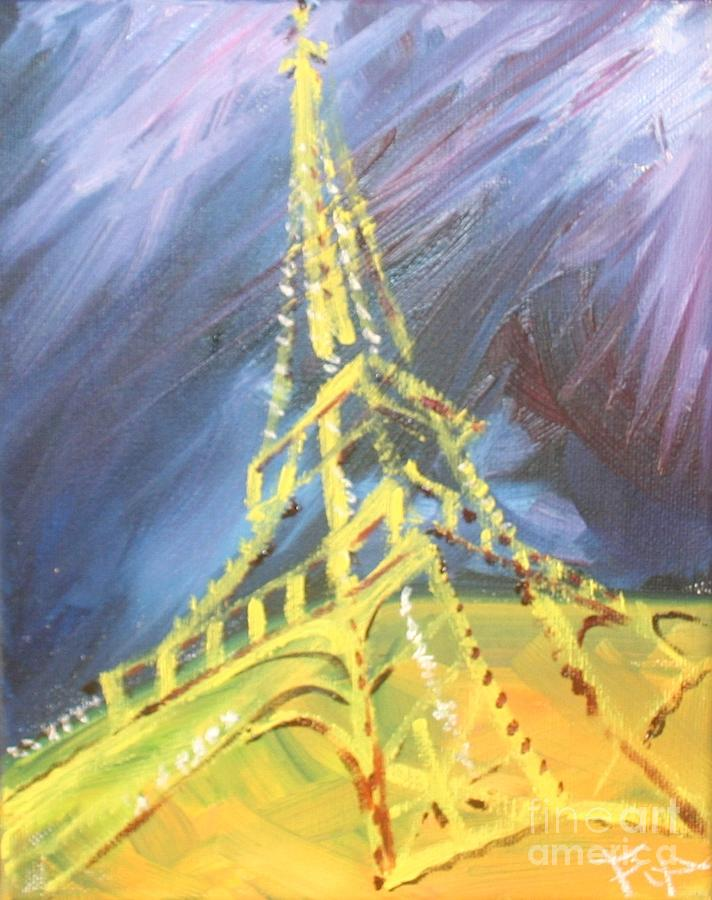 Paris Painting - Eiffel Tower Paris Night by PainterArtist FIN