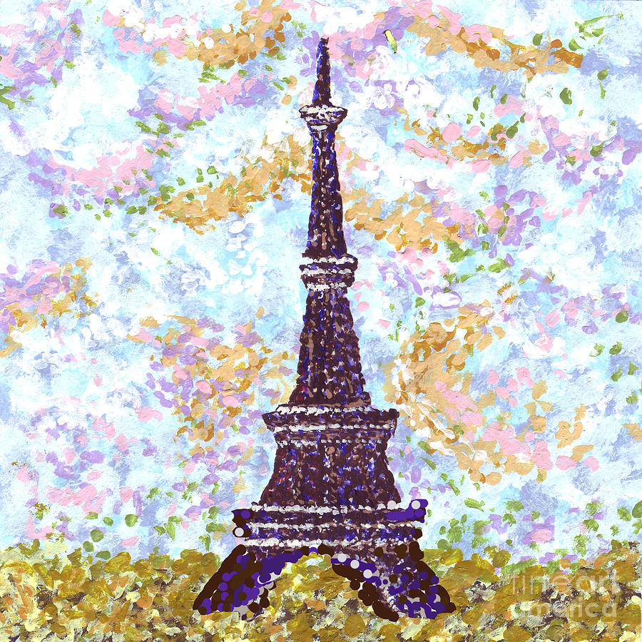 Eiffel Tower Painting - Eiffel Tower Pointillism by Kristie Hubler