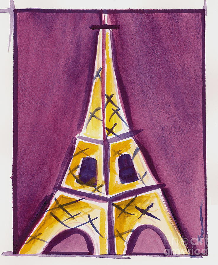 Eiffel tower purple and yellow painting by robyn saunders for Purple and yellow painting