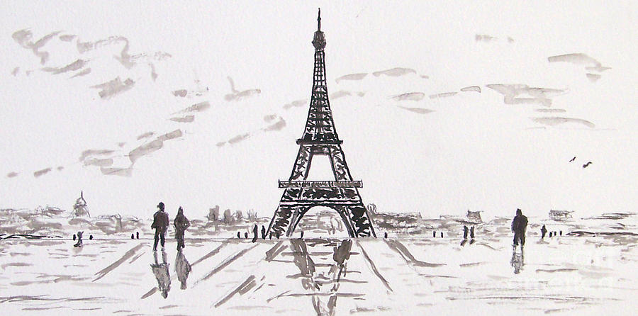 Eiffel Tower Painting - Eiffel Tower Rainy Day by Kevin Croitz