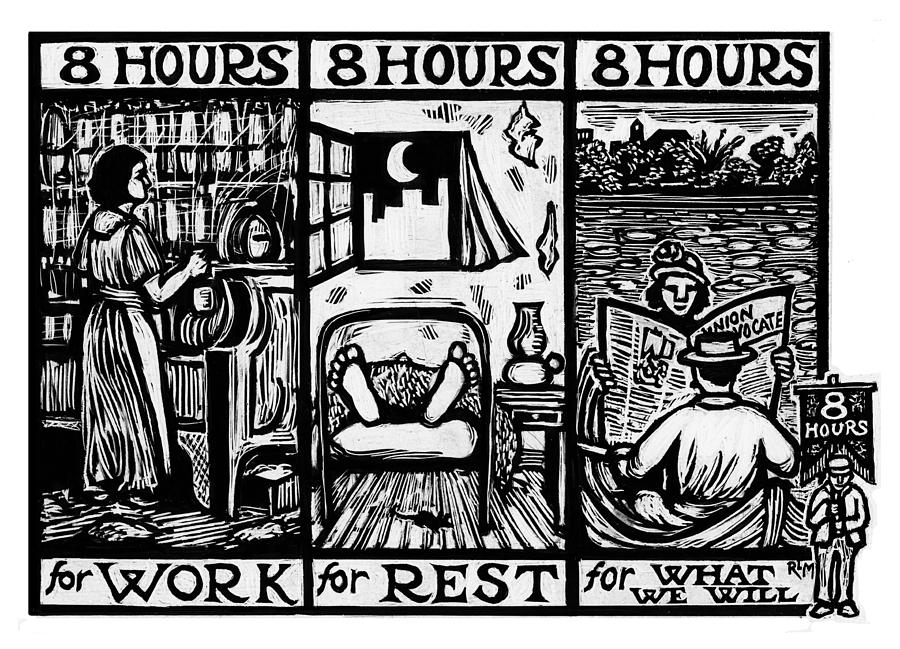 Labor Mixed Media - Eight Hours by Ricardo Levins Morales