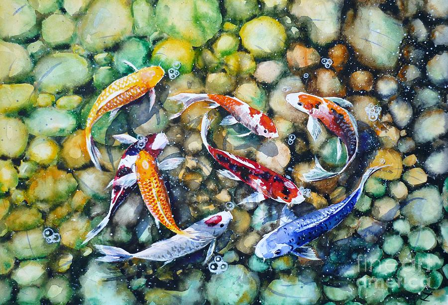 Eight koi fish playing with bubbles painting by zaira for Japanese fish painting