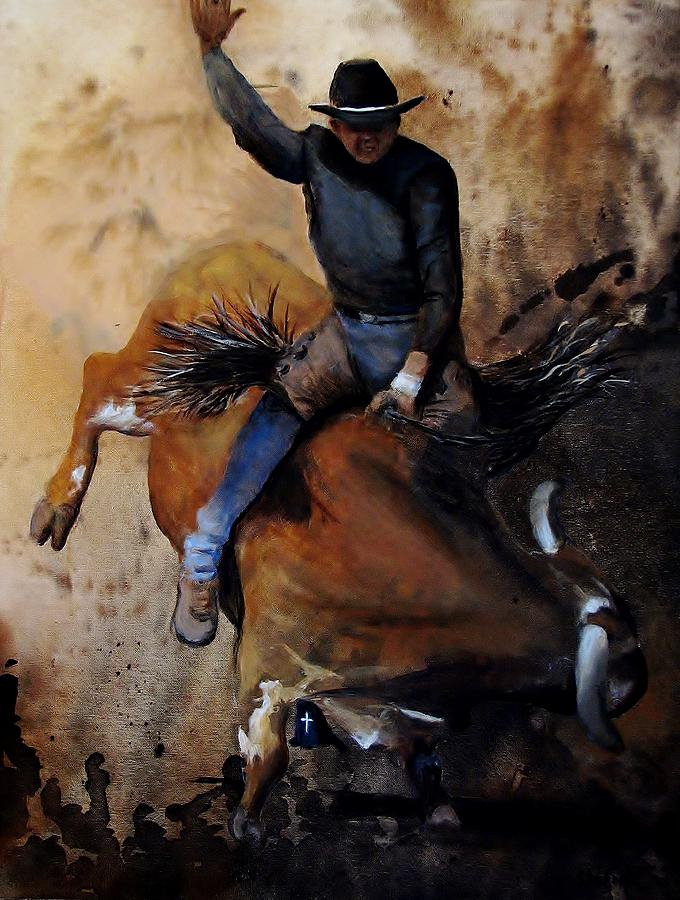 Bull Riding Painting - Eight Second Ride by Stefon Marc Brown