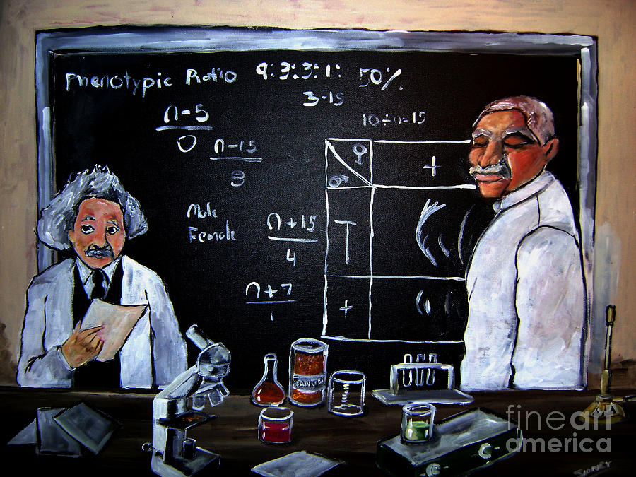 Celebrities Painting - Einstein/carver Experiments by Sidney Holmes