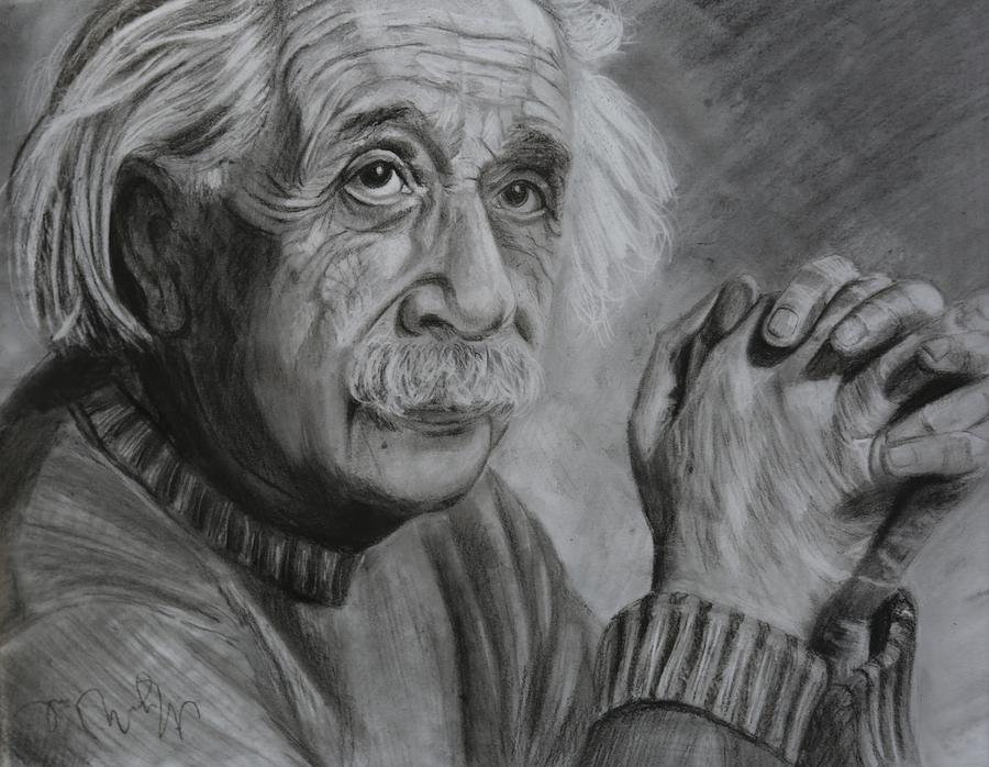 Einstein Drawing - Einstein Portrait  by Megan Wood