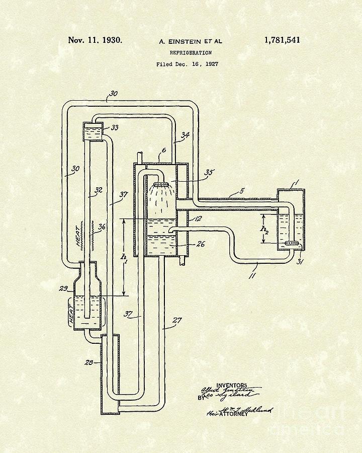 Einstein Drawing - Einstein Refrigerator 1930 Patent Art by Prior Art Design