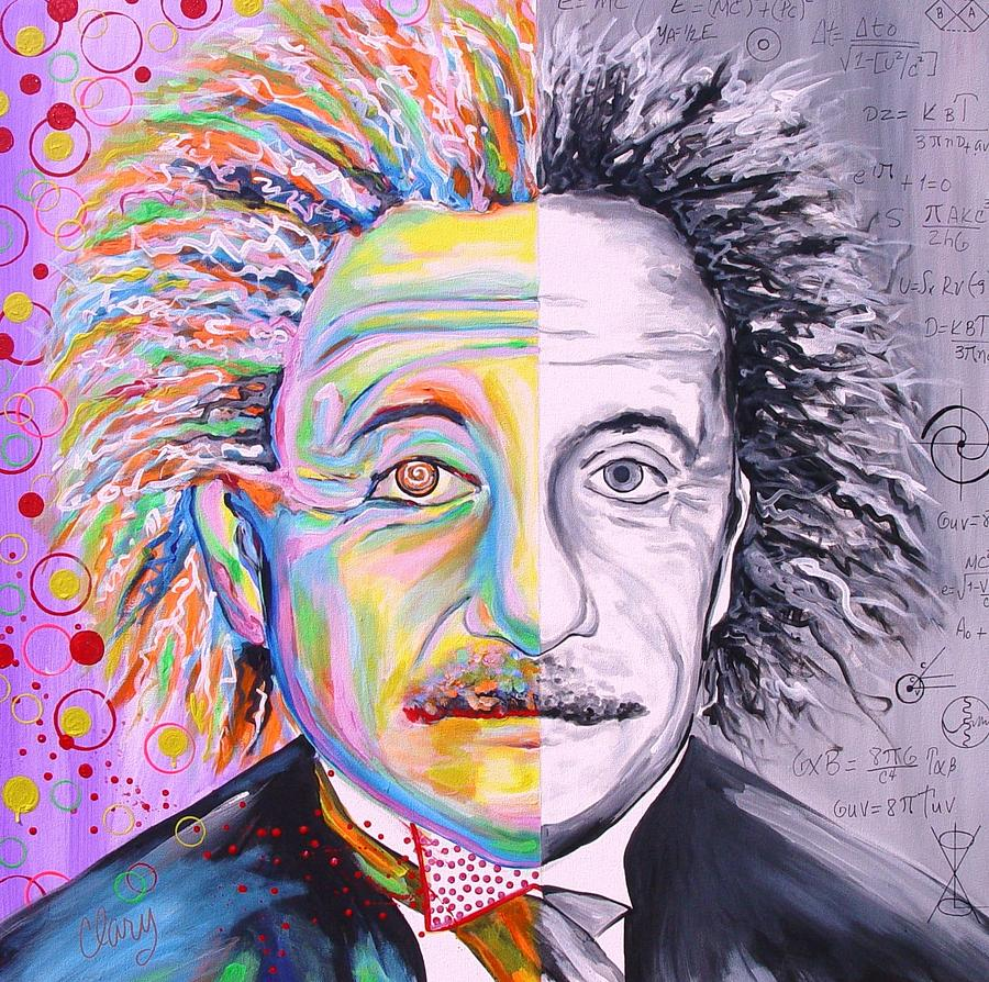 Einsteins Art And Science  Painting by Clary Meserve