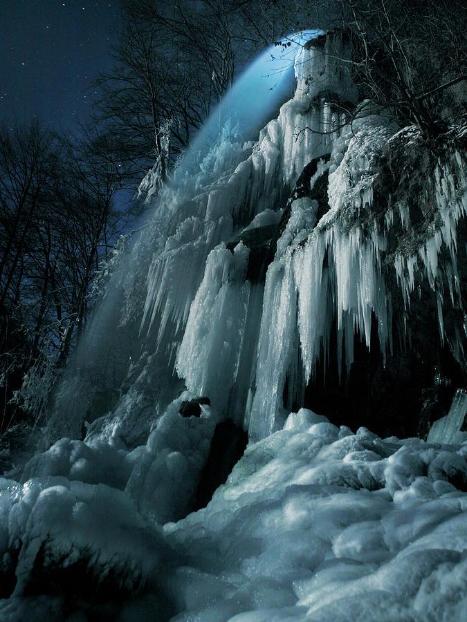 Moonlight Photograph - Eisfall Im Mondlicht by Nicolas Schumacher