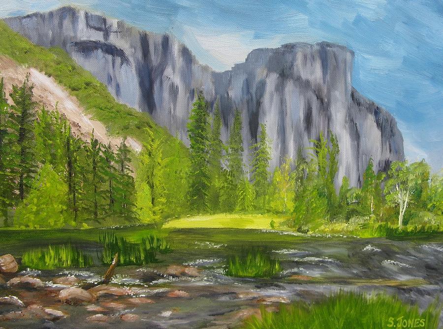 El Capitan Painting - El Capitan And The River by Sally Jones