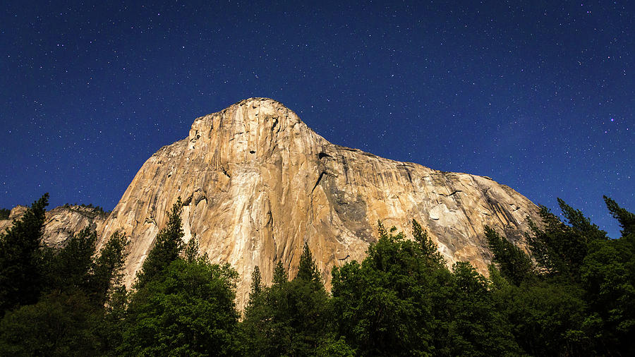 Active Lifestyle Photograph - El Capitan Under A Starry Moonlit Night by Russ Bishop