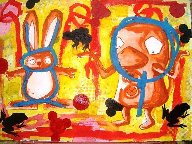 Oaxaca Painting - El Conejo En La Luna by Roberto Dominguez