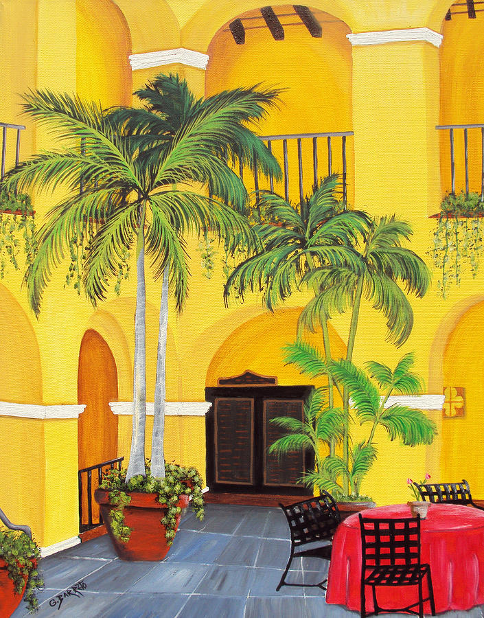Palms Painting - El Convento In Old San Juan by Gloria E Barreto-Rodriguez