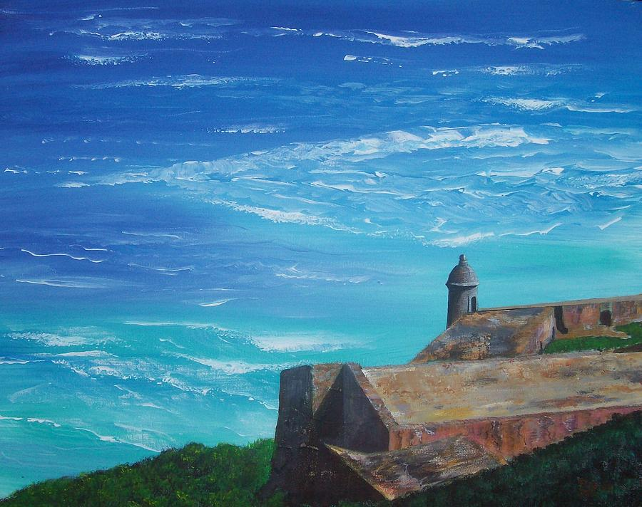 Seascape Painting - El Morro II by Tony Rodriguez