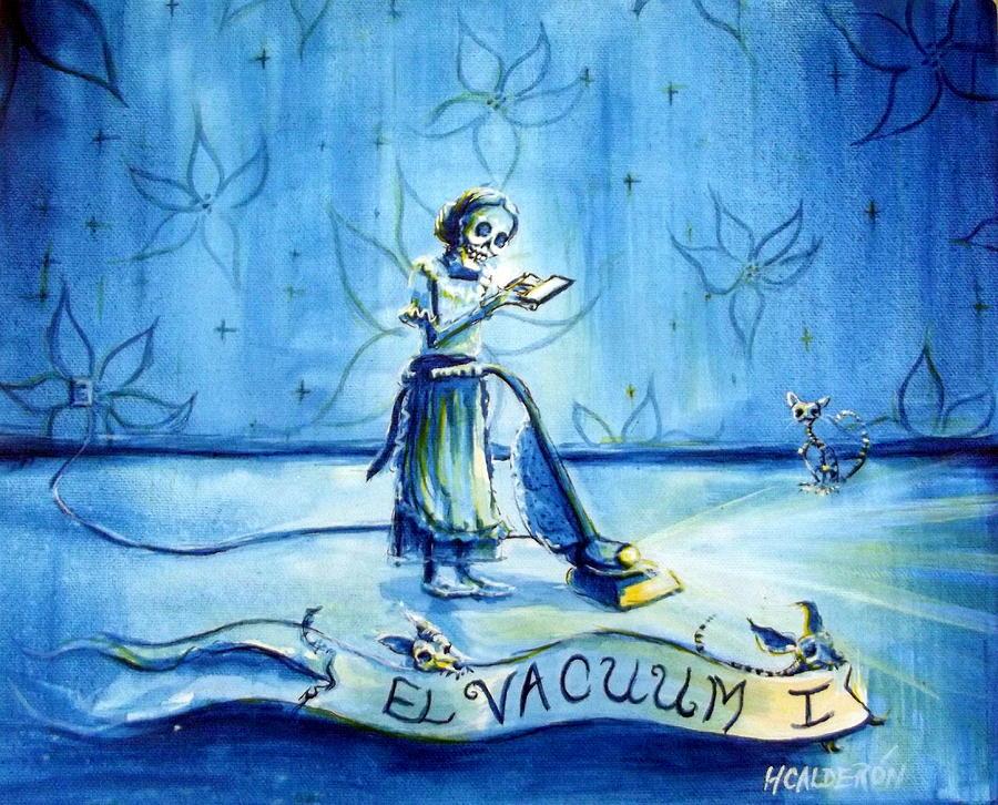 Skeletons Painting - El Vacuum I by Heather Calderon