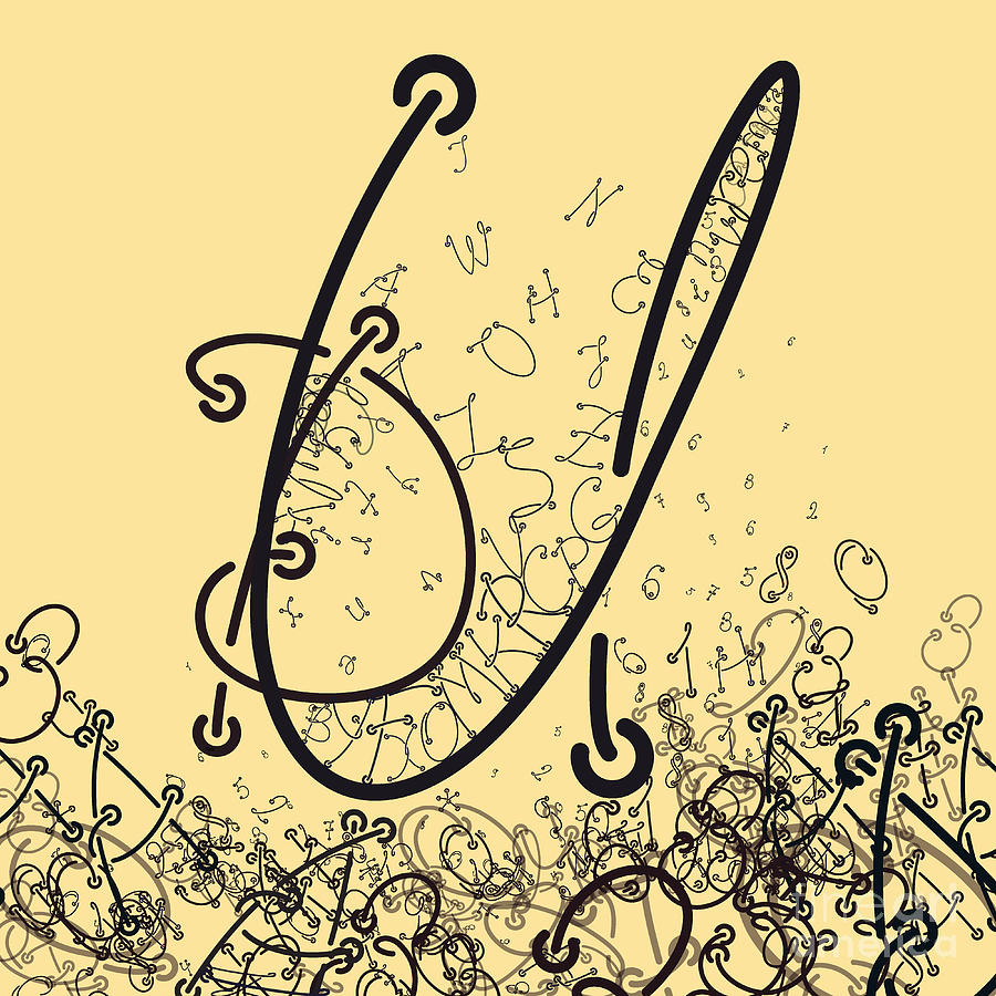 Typography Digital Art - Elaborate Composition Of Letters A by Eugen Domentean