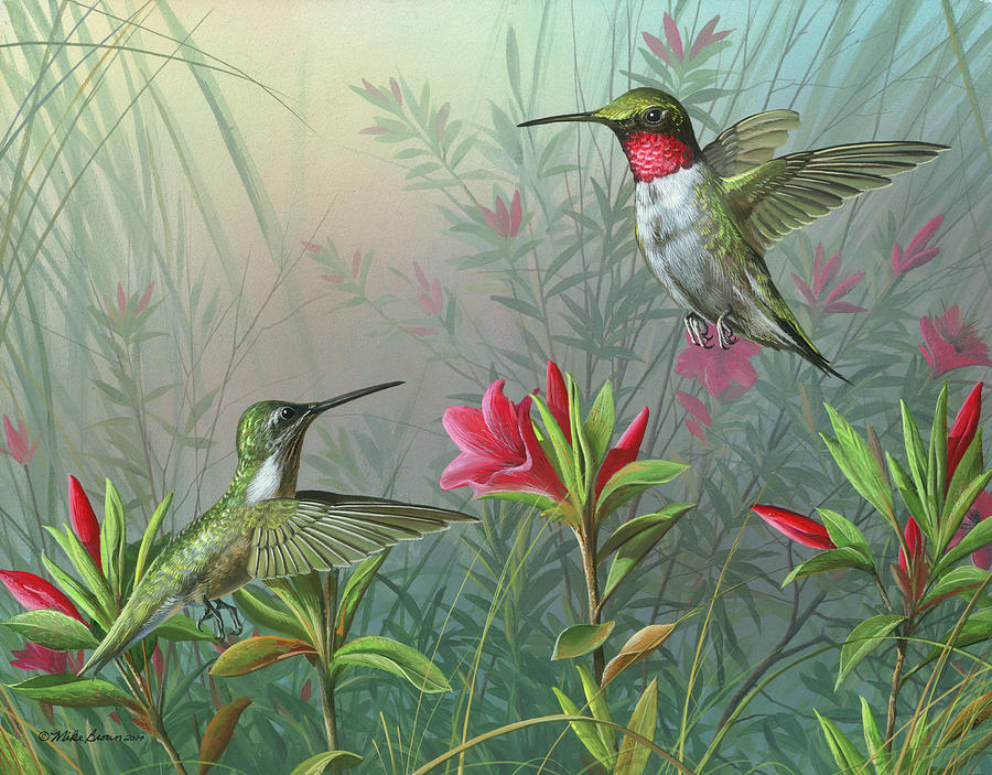 Humming Birds Painting - Elegance  by Mike Brown