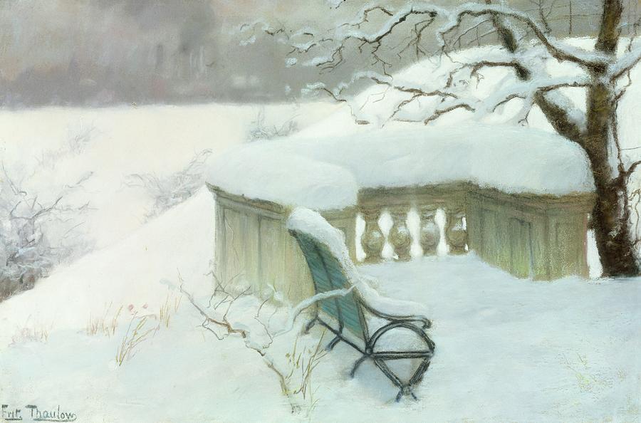 Winter Painting - Elbpark In Hamburg by Fritz Thaulow