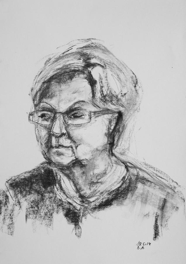 Girl Drawing - Elderly Lady With Glasses by Barbara Pommerenke