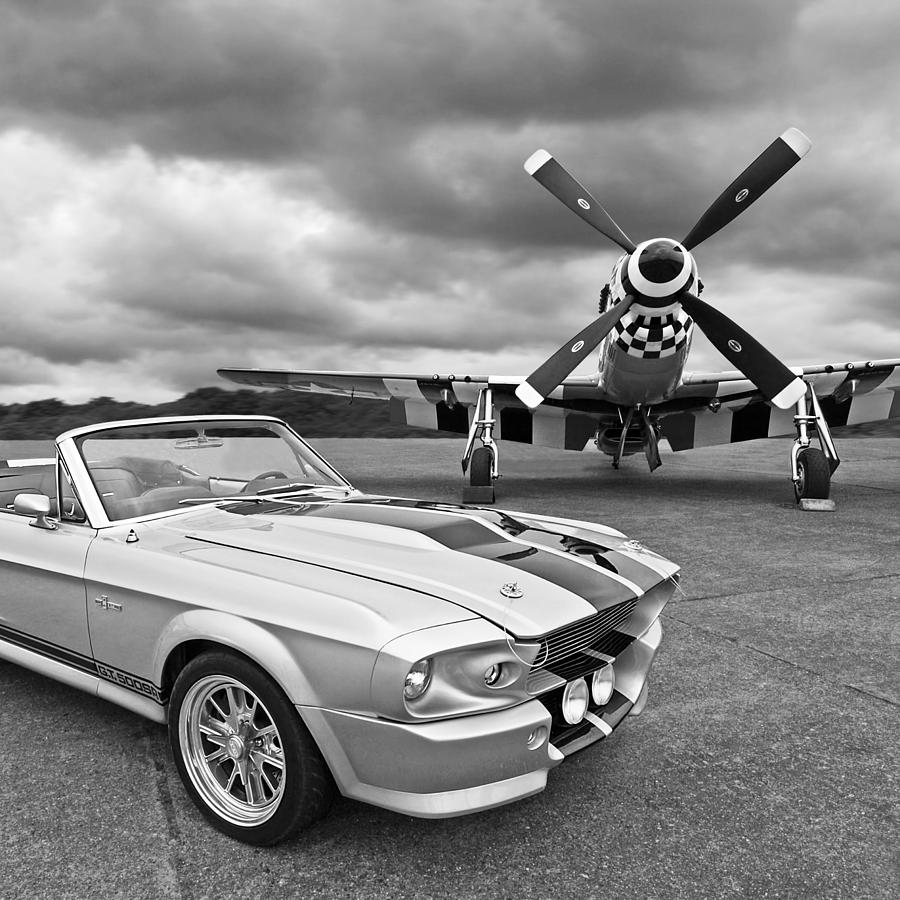 Old Ford Mustang Photograph - Eleanor Mustang With P51 Black And White by Gill Billington
