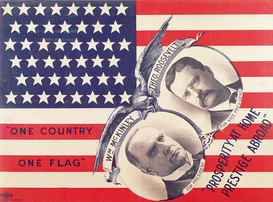 Usa Painting - Electoral Poster For The American Presidential Election Of 1900 by American School