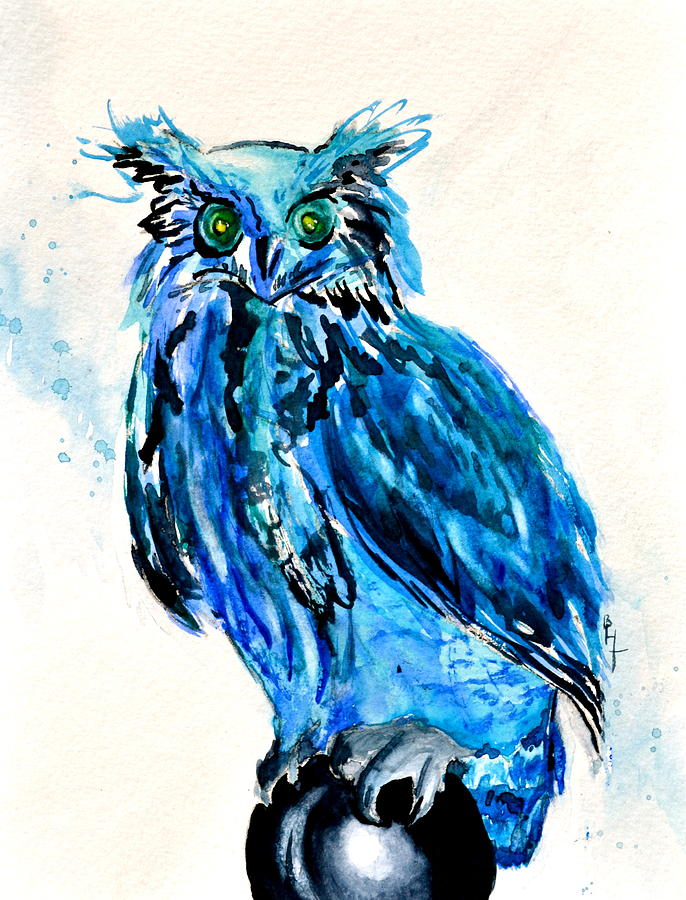 Owl Painting - Electric Blue Owl by Beverley Harper Tinsley