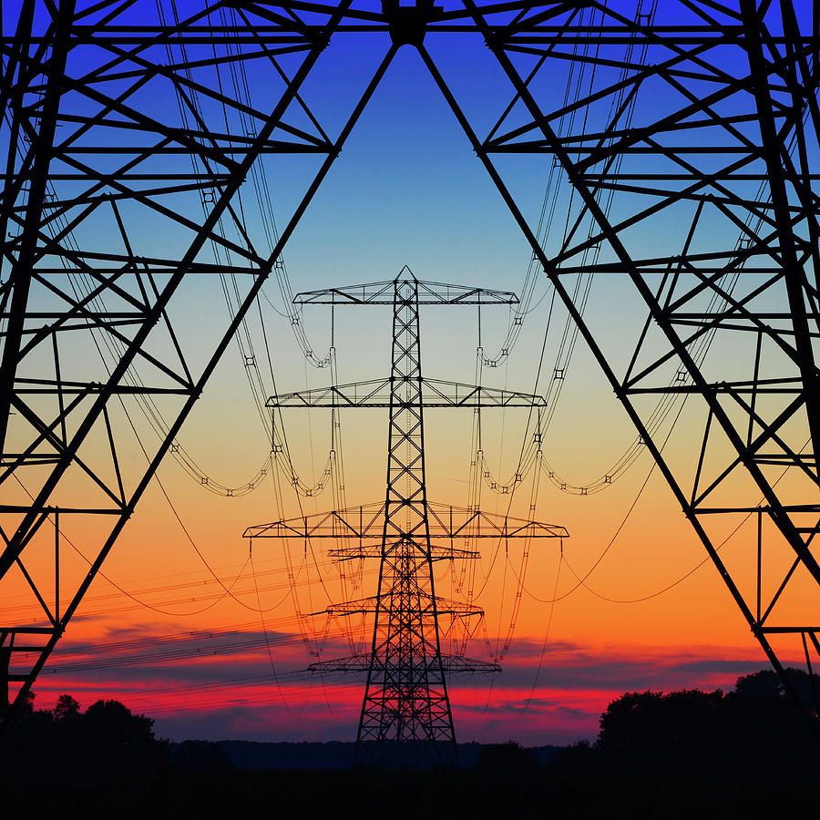 Electricity Photograph - Electric Coloured Sky by Riekus Reinders