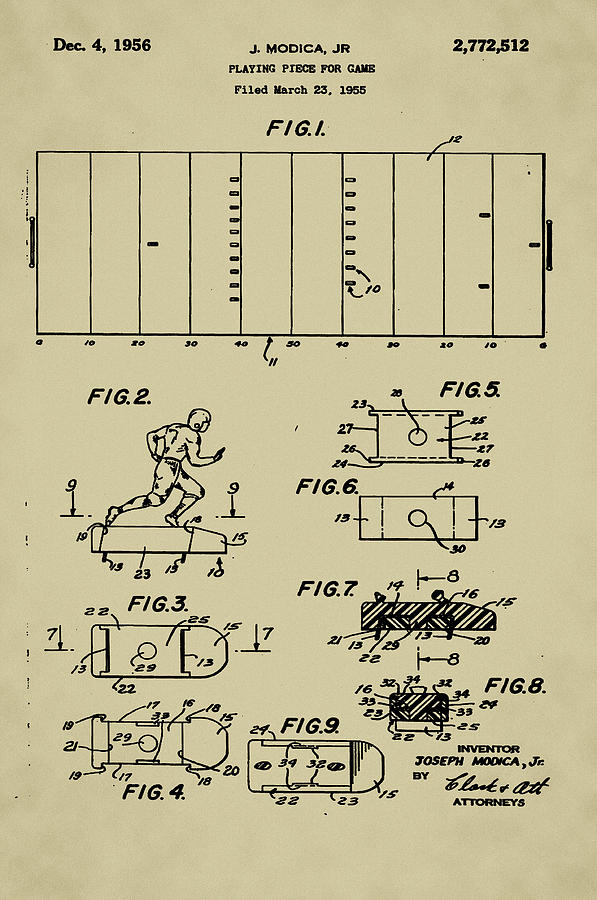 Electric Drawing - Electric Football Patent by Bill Cannon
