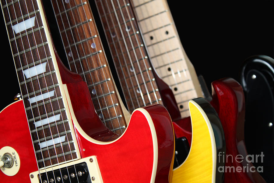 Guitars Photograph - Electric Guitars Closeup by Brigida Soriano