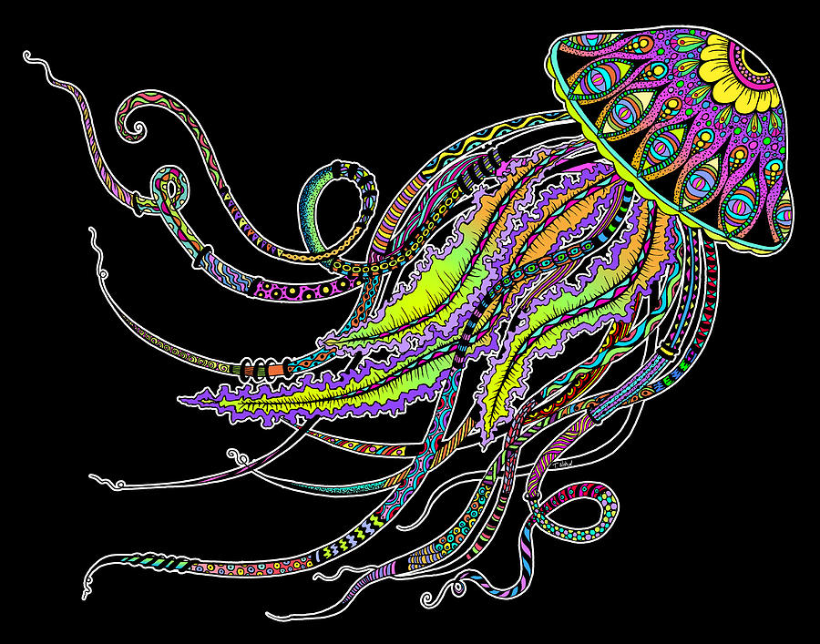 Electric Jellyfish On Black Digital Art By Tammy Wetzel