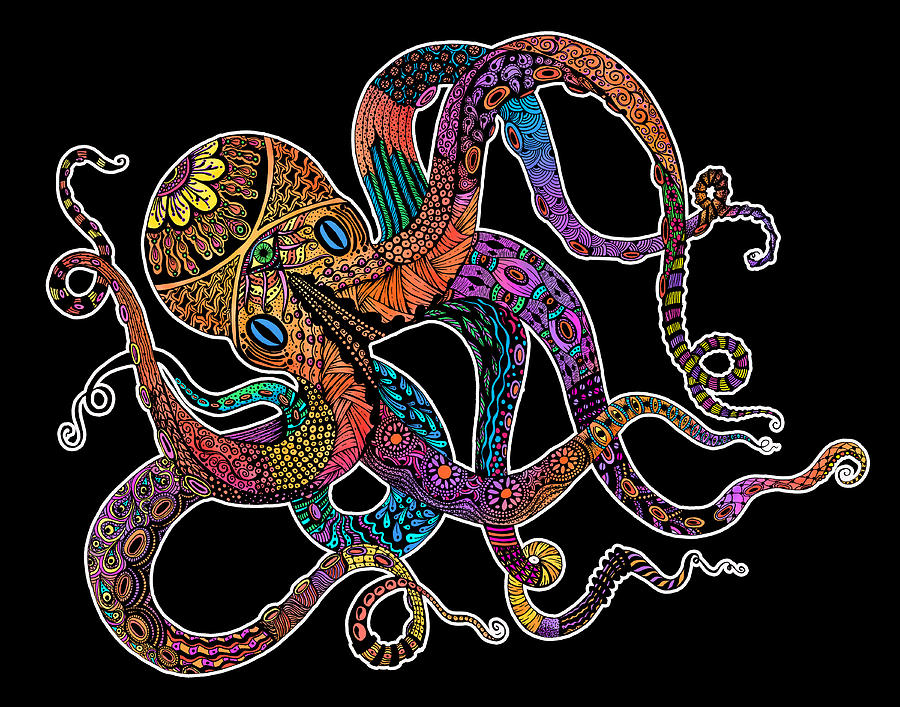 Electric octopus on black digital art by tammy wetzel for Colorful octopus painting