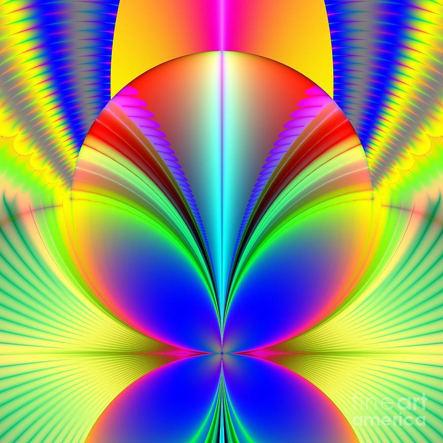 Orbs Digital Art - Electric Rainbow Orb Fractal by Rose Santuci-Sofranko