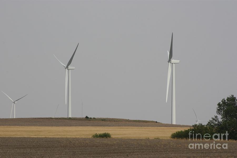 Windmill Photograph - Electric Windmills  In A Kansas Field by Robert D  Brozek