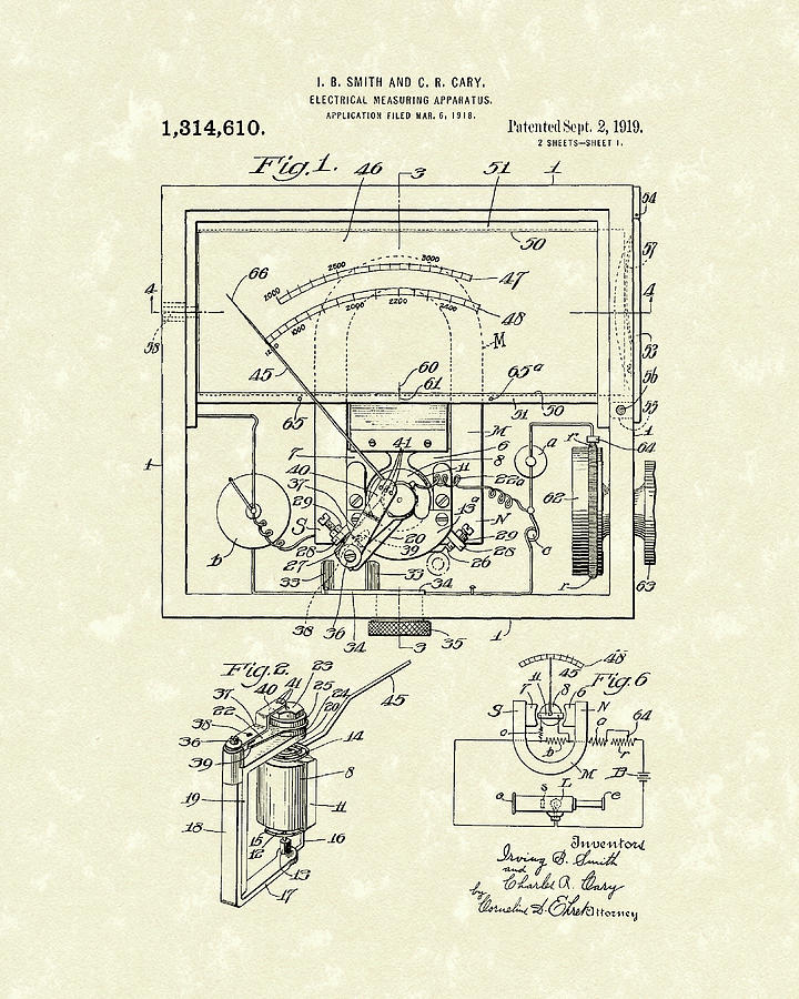 Electrical Meter 1919 Patent Art by Prior Art Design