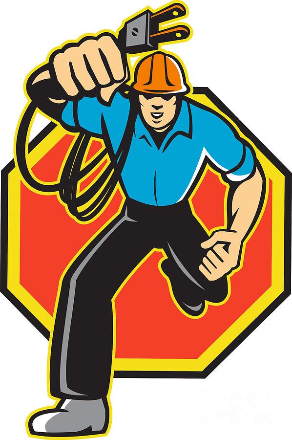 Electrician Digital Art - Electrician Worker Running Electrical Plug by Aloysius Patrimonio