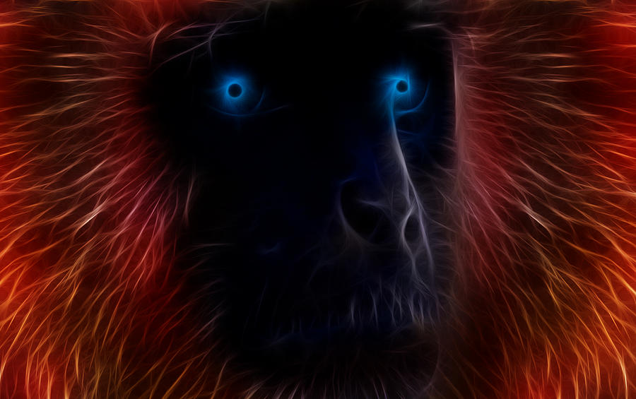 Monkey Drawing - Electrified by Aged Pixel