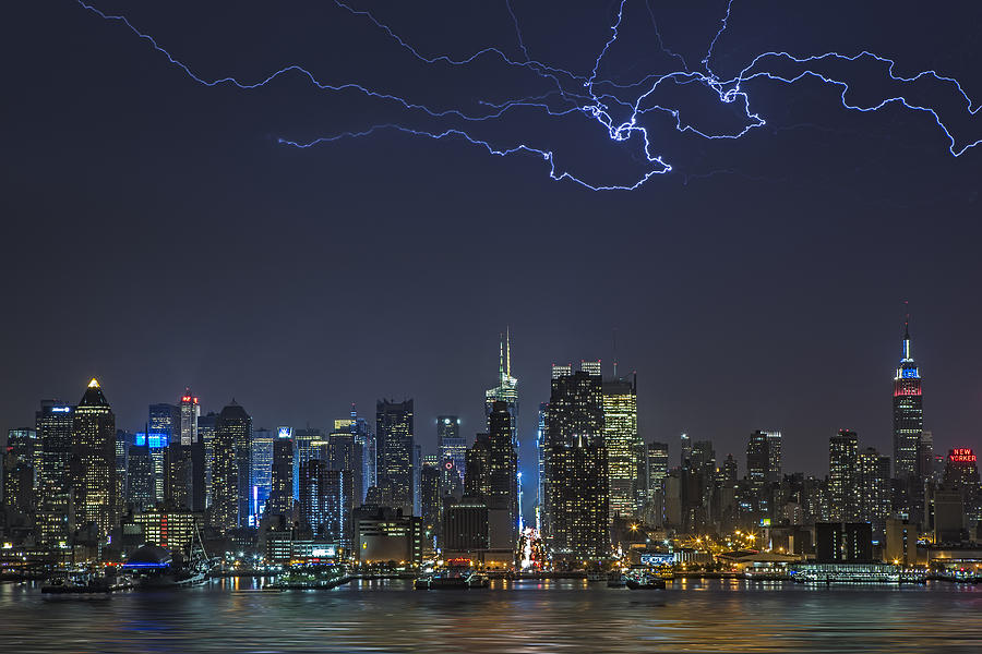 Lightning Photograph - Electrifying New York City by Susan Candelario