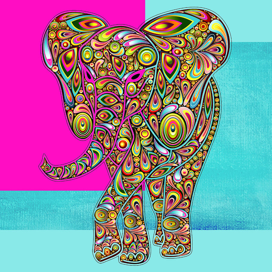 Elephant Digital Art - Elefantos - 01ac02aa by Variance Collections