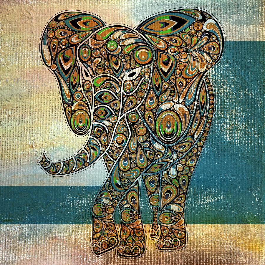 Elephant Digital Art - Elefantos - 01ac03at03b by Variance Collections