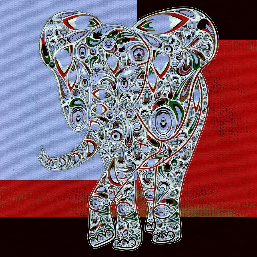 Elephant Digital Art - Elefantos - 01ac9at01 by Variance Collections
