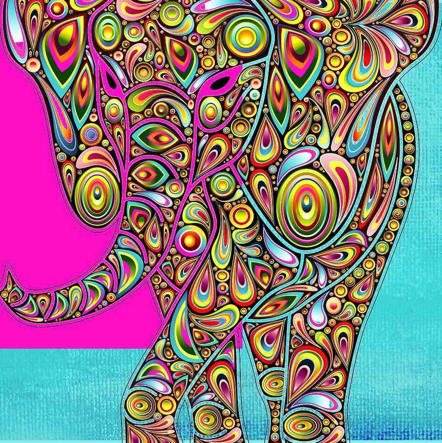 Elephant Digital Art - Elefantos - Bg01ac02 by Variance Collections