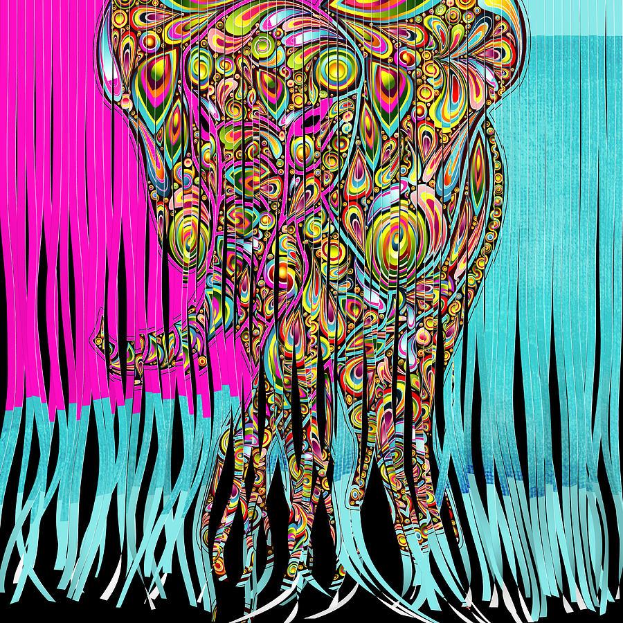 Elephant Digital Art - Elefantos - Cr01ac02 by Variance Collections