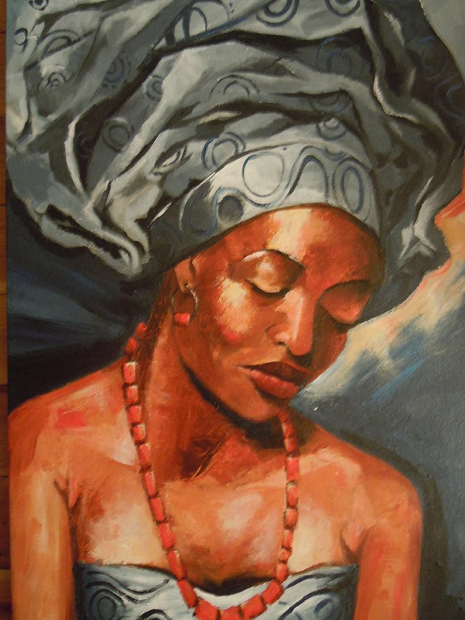 Elegant African Beauty Painting By Michael Echekoba