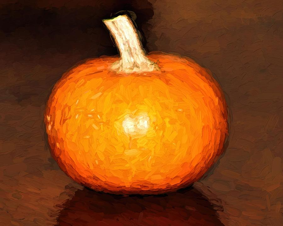 Elegant Autumn Orange Pumpkin Rustic Table Painting by Tracie Kaska