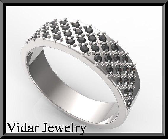 Gemstone Jewelry - Elegant Black Diamond 14k White Gold Men Wedding Ring by Roi Avidar