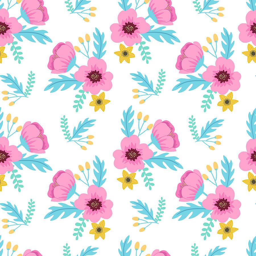 Elegant Colorful Seamless Floral Digital Art by Ekaterina Bedoeva
