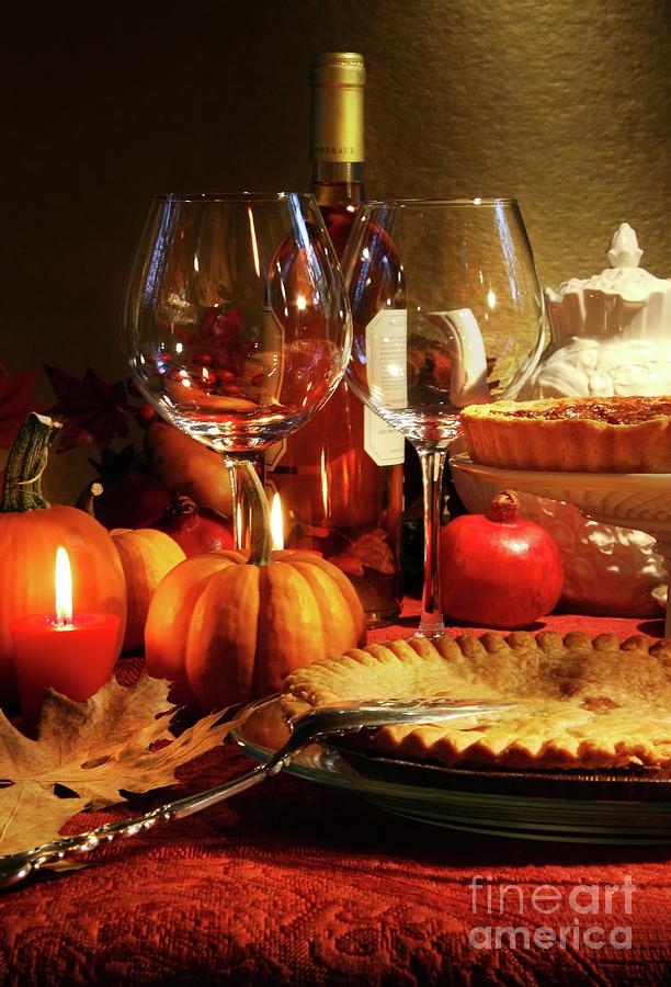 Pumpkin Photograph - Elegant Festive Table by Sandra Cunningham