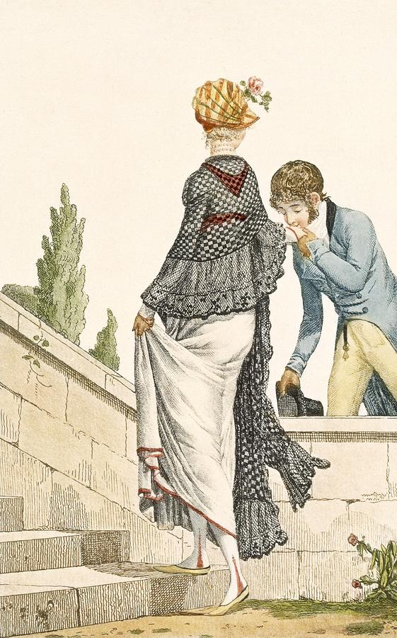 Fashion Drawing - Elegant Ladys Walking Dress With Check by Philibert Louis Debucourt