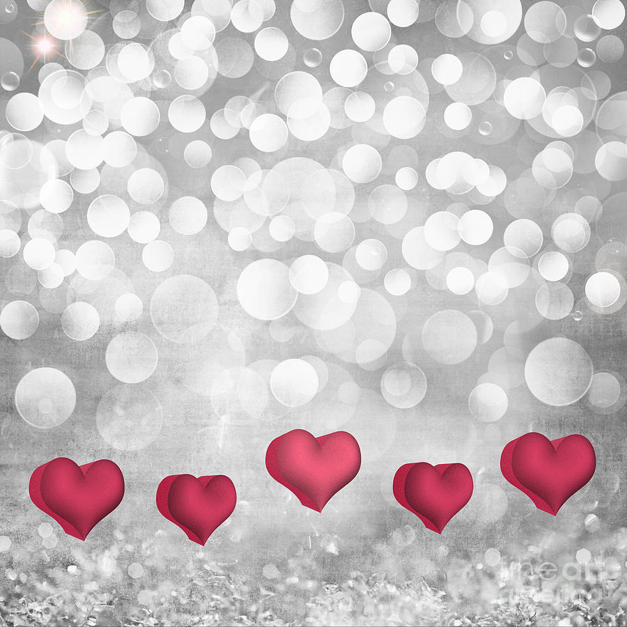 Abstract Photograph   Elegant Valentines Hearts On Silver Light Crystal  Vintage Texture Background By Susan McKenzie