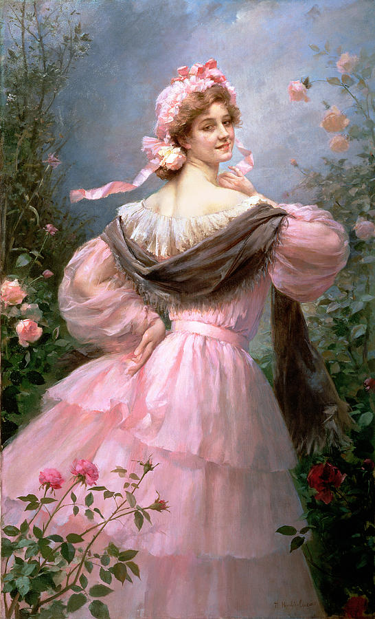 Pink Painting - Elegant Woman In A Rose Garden by Felix Hippolyte-Lucas