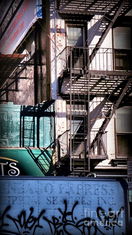Fire Escapes Photograph - Elemental City - Fire Escape Graffiti Brownstone by Miriam Danar